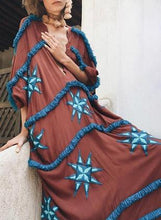 Load image into Gallery viewer, Boho V-neck Bat sleeve Irregular Embroidered Raw Mid-sleeve Maxi Dress