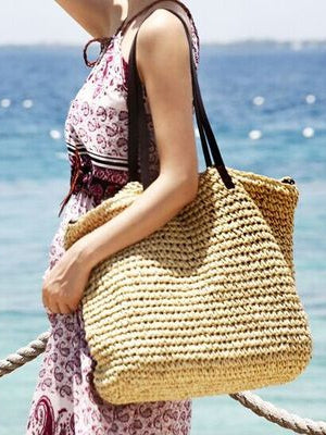 Straw Bag Beach Bag Grass Bag Simple Crochet Bag Rattan