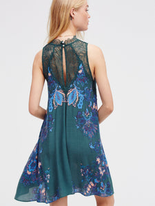 Lace stitching print dress