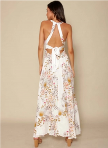 Floral Sleeveless Side Split Beach Maxi Dress