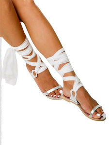 Women Summer Bohemia Solid Color Bandage Flats Sandals