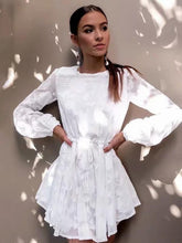 Load image into Gallery viewer, White Long Sleeve Autumn Mini Dress