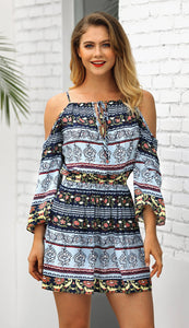 2018 Summer Print Cold Shoulder Bohemia Mini Dress