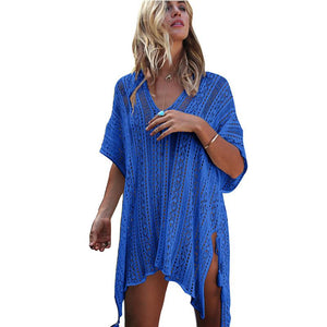New Knit Hollow Irregular Swimwear Bikini Cover Up