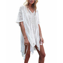 Load image into Gallery viewer, New Knit Hollow Irregular Swimwear Bikini Cover Up