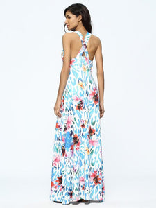 Floral Print Sleeveless Deep V Neck Bohemia Maxi Dress