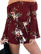 Load image into Gallery viewer, Flower Print Off Shoulder Long Sleeve Rompers