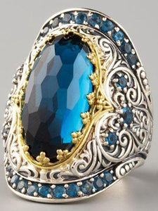 Bohemian Classic Carved Sapphire Zircon Ring