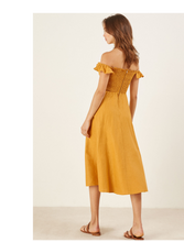 Load image into Gallery viewer, Off Shoulder Button Beach Solid Color Dress