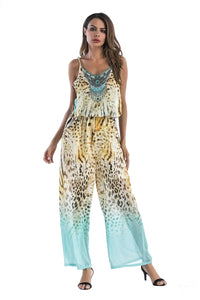 5 pattern Wide-leg pants sexy halter V-neck lady print panties chiffon Rompers