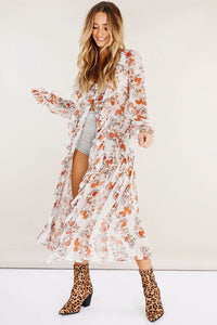 Floral Chiffon Long Sleeve Beach Maxi Dress