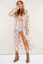 Load image into Gallery viewer, Floral Chiffon Long Sleeve Beach Maxi Dress