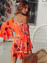 Load image into Gallery viewer, Floral Off Shoulder Flared Sleeve Boho Rompers