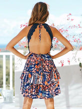 Load image into Gallery viewer, Boho Floral Print Summer Lace-up Ruffles V-neck Mini Dress