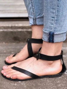 Black Low-heel Sandals Shoes For Women