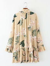 Load image into Gallery viewer, Floral Print Long Sleeve Loose Mini Dress