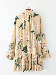 Floral Print Long Sleeve Loose Mini Dress