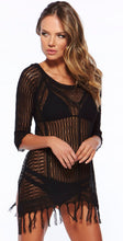 Load image into Gallery viewer, Round Neck Knit Tassel Swimwear Beach Tops Bikini Cover Up