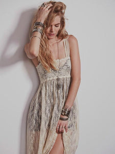 Wide camisole long lace dress