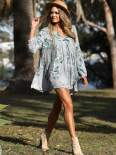 Load image into Gallery viewer, Floral V Neck Puff Sleeve Mini Dress