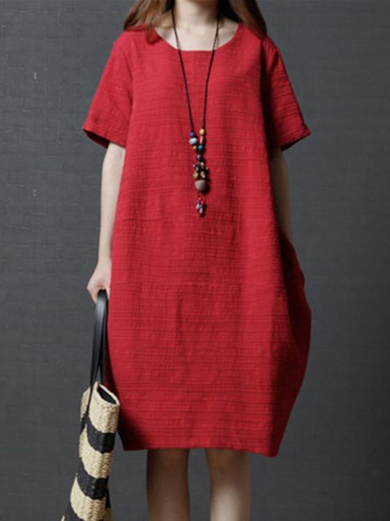 Pure Color Short Sleeve Loose Pockets Midi Dress