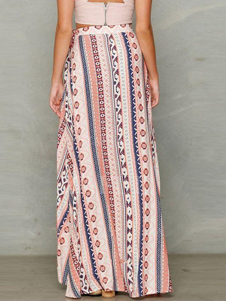 New Bohemia Printing Chiffon Split-side Cover-up Beach Skirt