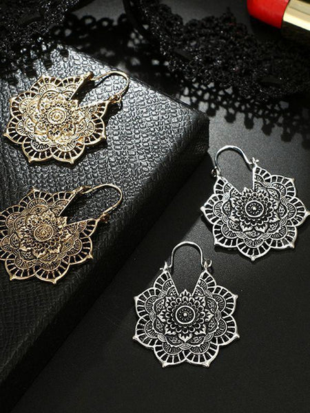 Bohemian Vintage Hollow Flower Earrings Accessories