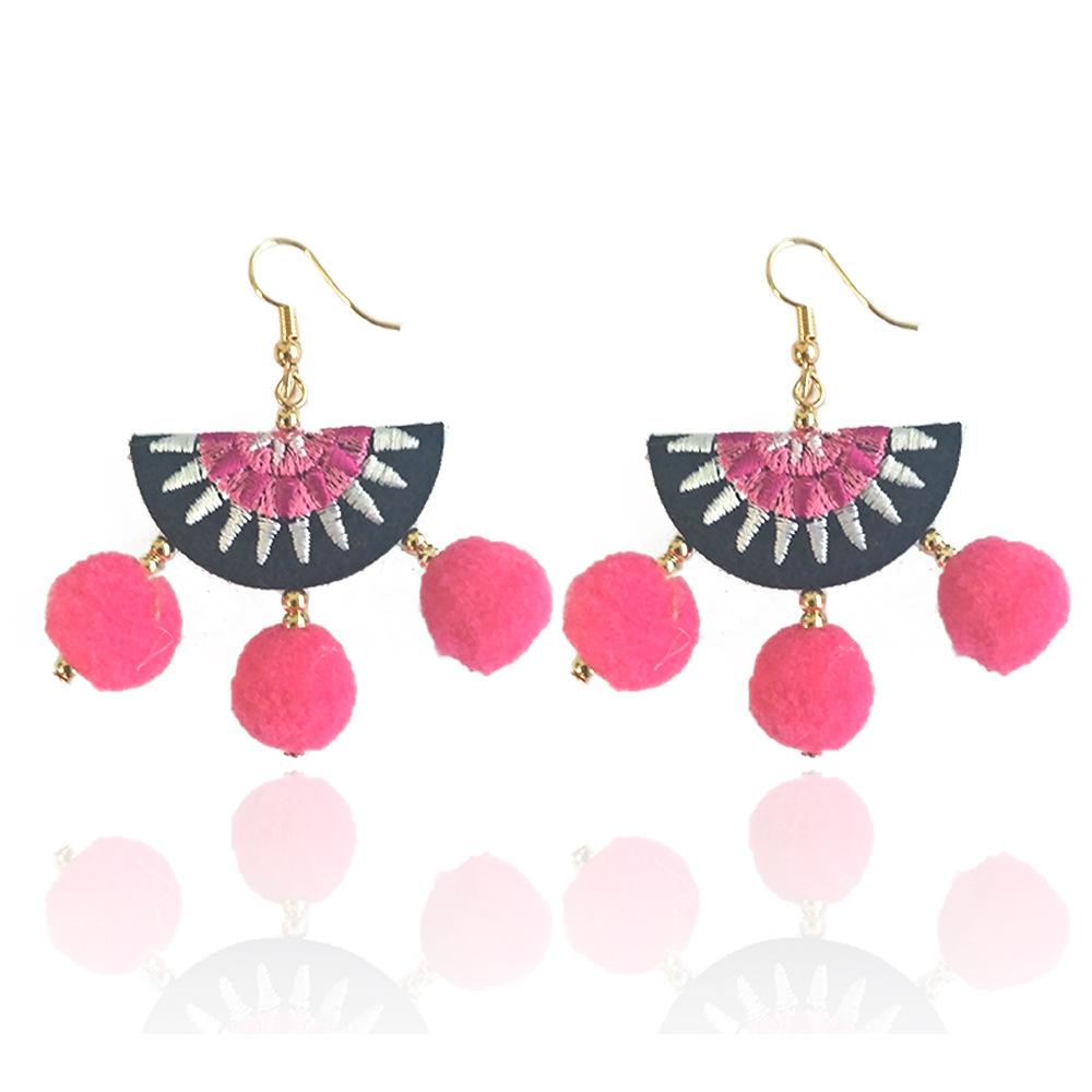 Women earring ball earrings short statement multi-layer big velvet fan-type earrings fringe jewelry vintage bohemia