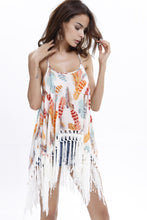 Load image into Gallery viewer, Printed Leaf Beach Tassel Mini Dress