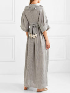 V Neck Half Sleeve Casual Maxi Dress