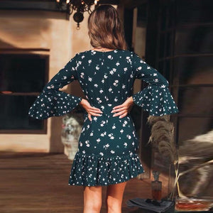 Floral Print V Neck Flared Sleeve Mini Dress