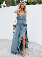 Load image into Gallery viewer, Solid Color V Neck Split Beach Maxi Dress