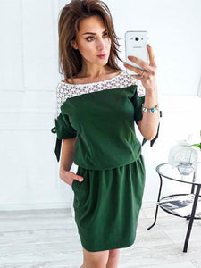 Lace Solid Color Pocket Midi Dress