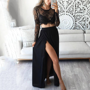 Lace Long Sleeve Tops Split Skirt Two Pieces Set