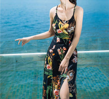 Load image into Gallery viewer, Sexy Floral Print Back Cross Split Beach Bohemia Maxi Dress