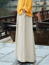 Load image into Gallery viewer, Linen Cotton Solid Color Wide Leg Pants