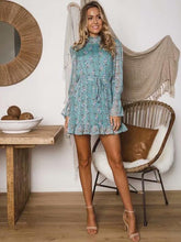 Load image into Gallery viewer, Fashion Lace Floral Ruffle Long Sleeve Mini Dress