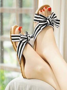 Bohemian Flat Heel Non-Slip Bow Versatile Beach Shoes Slippers