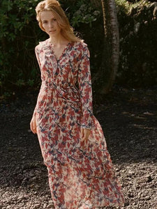 Print V Neck Long Sleeve Beach Dress