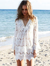 Load image into Gallery viewer, White Lace Beach Loose Hollow Pullover Cover-up