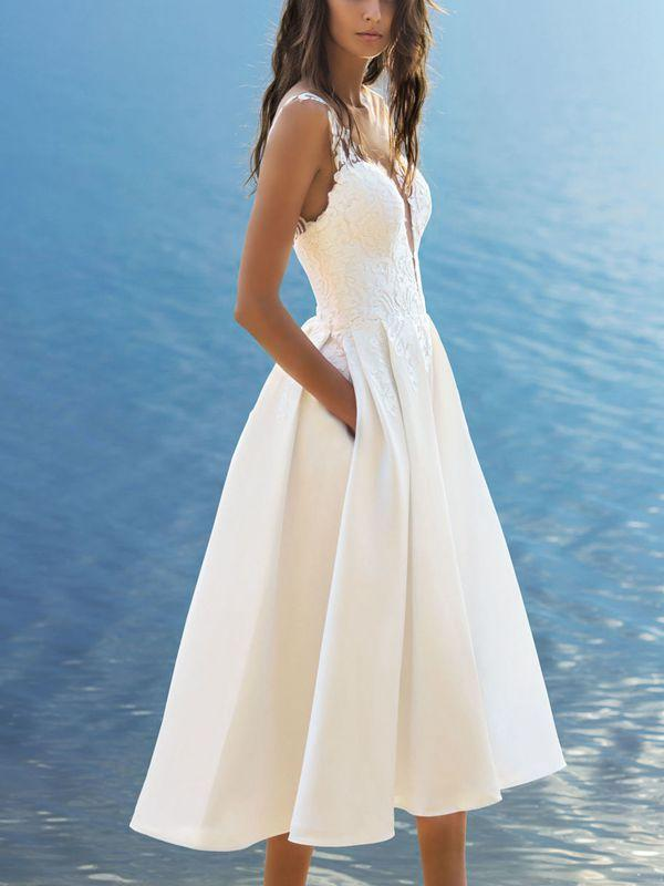Summer Sexy V-Neck Sling Solid Color White Dress