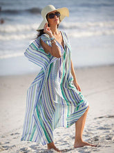 Load image into Gallery viewer, Chiffon Blue And White Stripes Beach Vacation Cover-Up