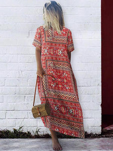 Casual Vintage Print Boho Summer Short Sleeve Plus Size Maxi Dress