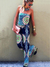 Load image into Gallery viewer, Print Off Shoulder Backless Jumpsuit Rompers