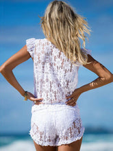 Load image into Gallery viewer, Lace Deep V Neck Pockets Beach Rompers