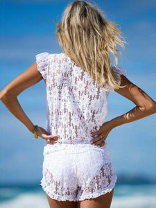 Lace Deep V Neck Pockets Beach Rompers