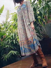Load image into Gallery viewer, Spring New Boho Retro Positioning Print Holiday Dress