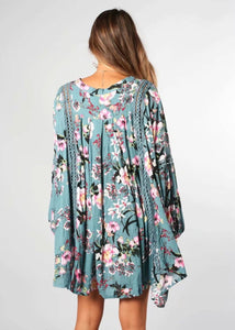 Floral V Neck Long Sleeve Casual Mini Dress
