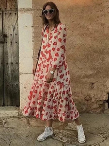 Flower Print Long Sleeve Bohemia Chiffon Maxi Dress