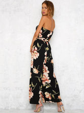 Load image into Gallery viewer, Flower Off Shoulder Wide Leg Pants Jumpsuit Rompers